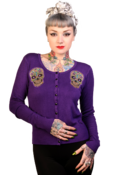 Image of Banned Purple Sugar Skull Cardigan