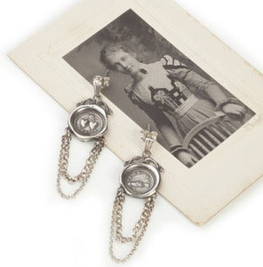 Image of Oxidised 19th c. Mini Wax Seal Chain Earrings NEW