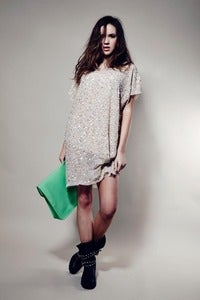 Image of Tempest cream Lucy sequin slouche dress