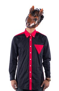 Image of Triangle Button Down - Navy/ Red