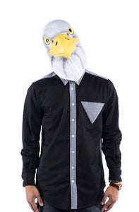 Image of Triangle Button Down - Grey Oxford/ Black