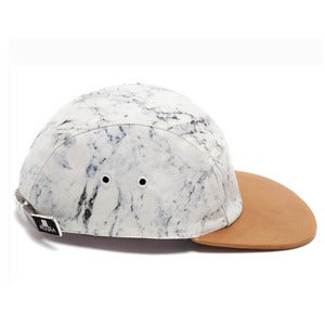 Image of MOUPIA X SHALLOWWW Marble/Camel (leather) 5 Panel Hat