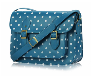 Image of Teal Polka Dot Classic Satchel