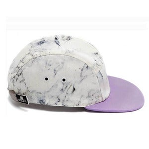 Image of MOUPIA X SHALLOWWW Marble/Lavender (leather) 5 Panel Hat