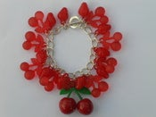 Image of Red Cherry & Strawberry Fruity Retro Kitsch Carmen Miranda Rockabilly Charm Bracelet