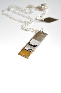 "Image of ""Silver + Gilded"" Fine Art Collage Necklace"