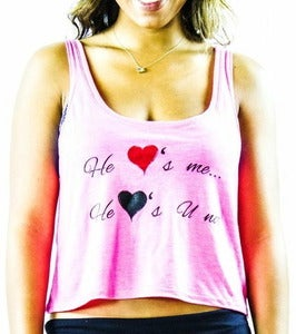 Image of He Loves Me He Loves You Not Girls Cropped Tank