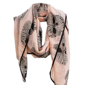 Image of Geo Skull Scarf - Powder Pink