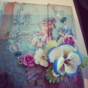 Image of May flowers; upcycled china flower statement necklace