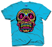 Image of 8 Bit Apparel Sugar Skull tee in neon blue