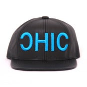 Image of OHIO/CHIC Leather 6 Panel Hat - BLK/Electric Blue