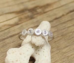 Image of Five sequin diamond ring, sterling silver