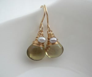 Image of Olive Quartz Drop Earrings