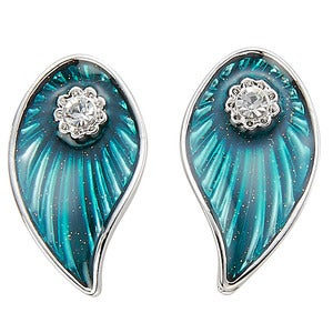 Image of Enamelled Leaf Earrings