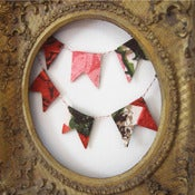 Image of Barkcloth Mini Bunting Flags - Darcey