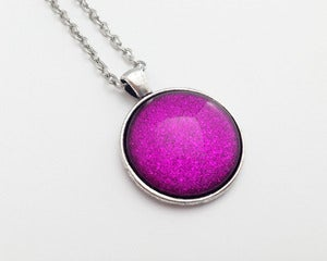 Image of  Hand Painted Necklace - - Pink Spark in Antiqued Silver