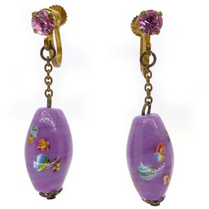 Image of Vintage Czech 1940s Boshan Swirl Purple Glass Screw Barrel Earrings