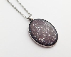 Image of Hand Painted Necklace - - The Universal in Antiqued Silver