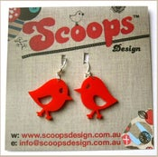 Image of Red Chirpy Bird Earrings