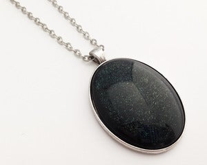 Image of Hand Painted Necklace - - Supernova 2 in Antiqued Silver
