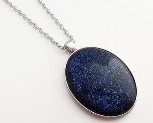 Image of Hand Painted Necklace - - Orbital in Antiqued Silver