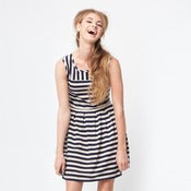 Image of wimbledon dress - navy stripe