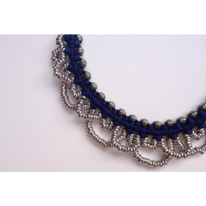 Image of small 'metal lace' necklace- navy blue