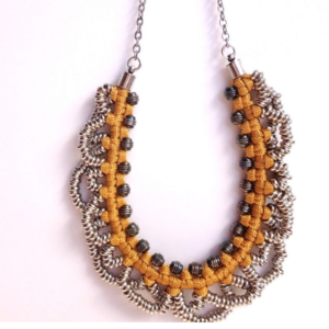 Image of small 'metal lace' necklace- mustard
