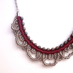 Image of small 'metal lace' necklace- maroon