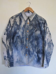 Image of Marble Dye Overshirt with Button Front and Inner Pocket
