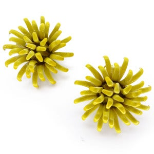 Image of Vintage 1950s Metal Enamel Yellow Flower Clip On Earrings