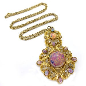 Image of Vintage Sphinx Gold Tone Opalescent Glass Stone Necklace