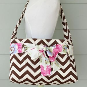 Image of messenger bag - chocolate brown chevron w/ sash