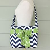 Image of mini messenger bag - navy chevron