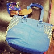 Image of Blue and Gold Studded Hobo Bag 
