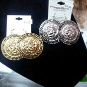 Image of Leo Disc Earrings with Black Detail