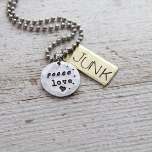 Image of Peace Love and Junk necklace
