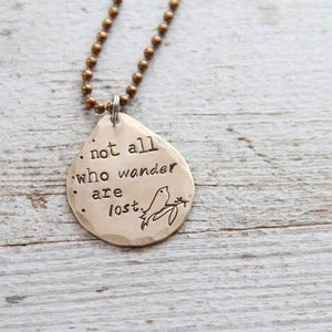 Image of Not all who Wander necklace 
