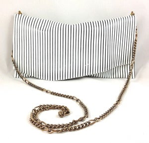 Image of black &amp; white stripe vintage chain pouch