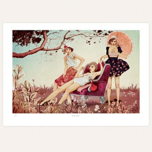 Image of 'Lazy girls' print by lodie