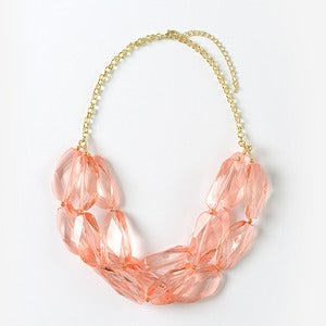 Image of Coral Chunky Crystal Necklace