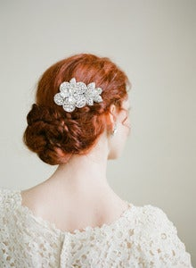 Image of Rhinestone Flower Bridal Comb By Fine &amp; Fleurie