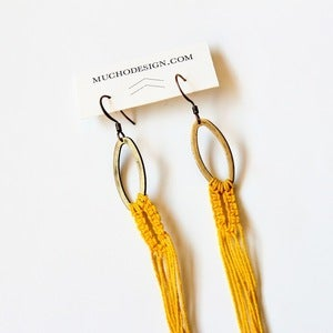 Image of Arachne Thread Macrame Earrings in Yellow
