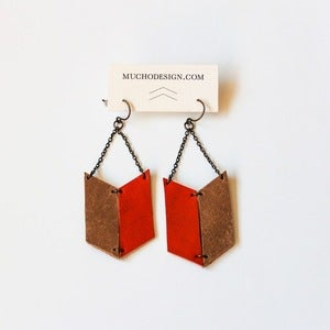 Image of Leather Archery Chevron Earrings in Orange and Natural