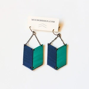 Image of Leather Archery Chevron Earrings in Indigo and Teal