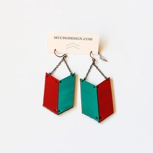 Image of Leather Archery Chevron Earrings in Red and Teal