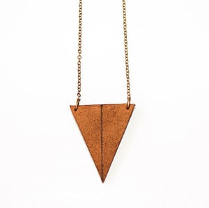 Image of Duplexed Leather Triangle Necklace // Large
