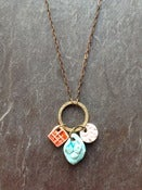 Image of triple charm necklace - tomato, turquoise, pink