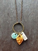 Image of triple charm necklace - ice, mustard, cream