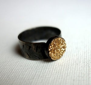Image of Gold Drusy on Wide Black Band